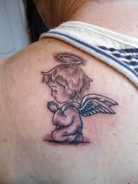 Small Praying Baby Angel Tattoo on Back Shoulder