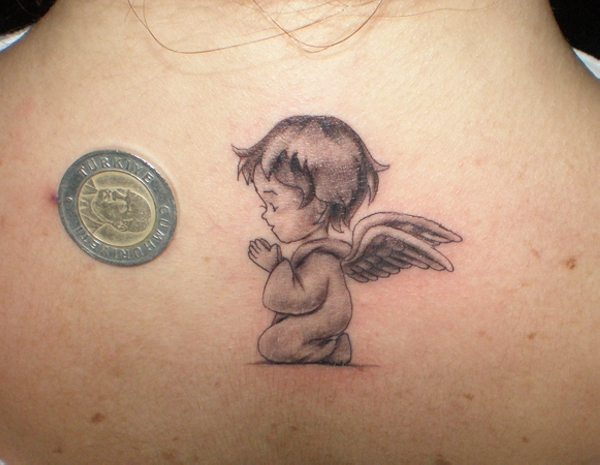 Small Praying Baby Angel Tattoo on Upper Back