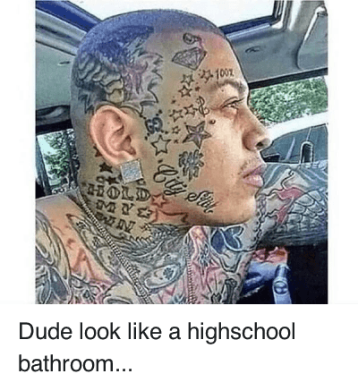 Tattoos Design On Face Funny Nasty Boy Image