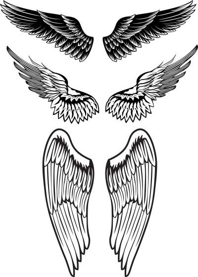 Three Angel Wings Tattoo Designs Samples