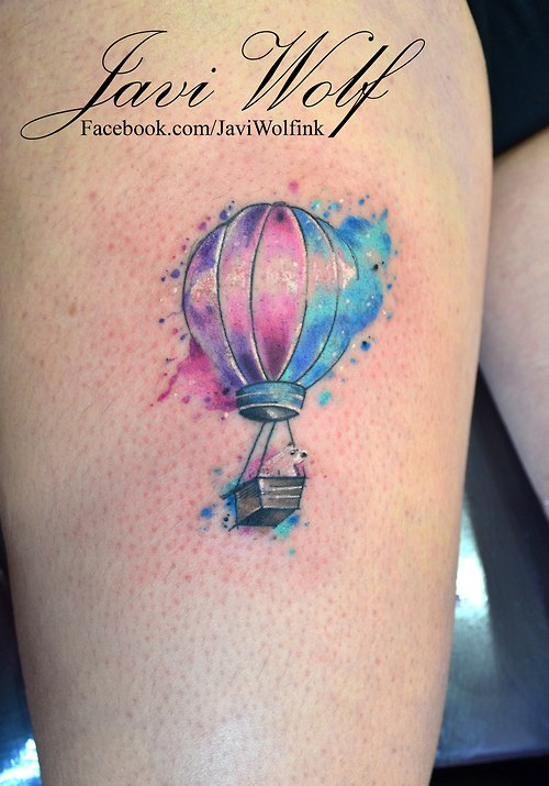 595c7957a Watercolor Hot Air Balloon Tattoo On Thigh By Javi Wolf