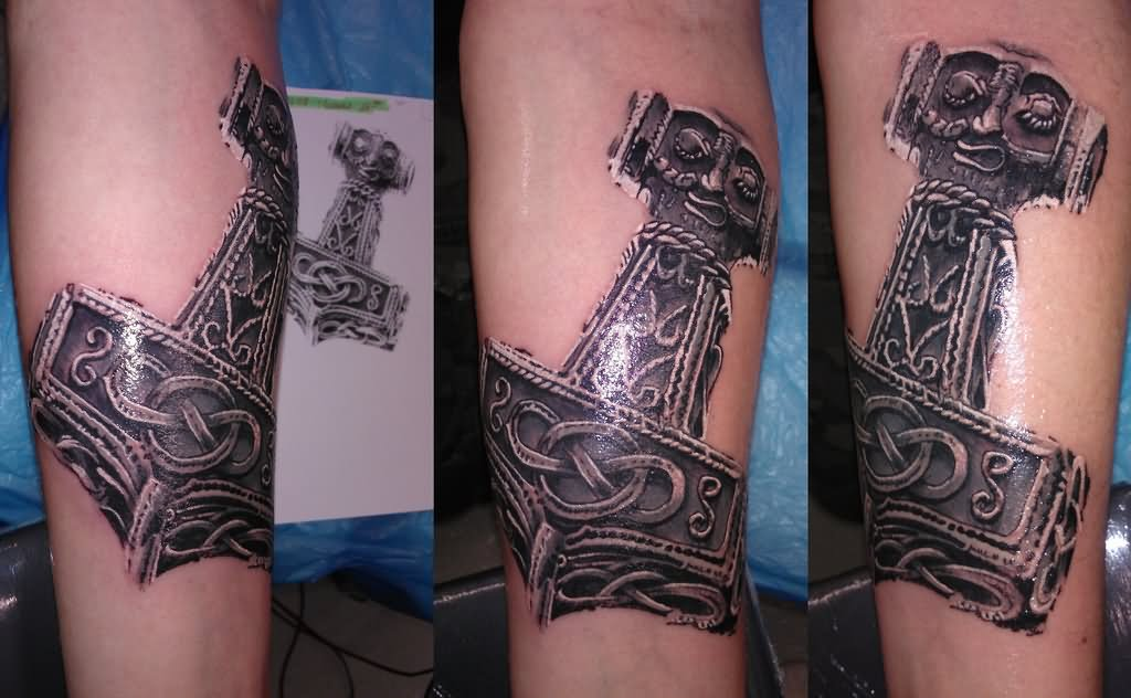 3d celtic thor hammer symbol tattoo design for forearm. Black Bedroom Furniture Sets. Home Design Ideas