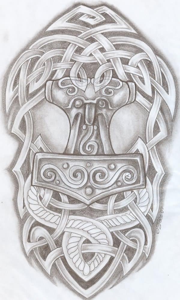 9071445aec2ea Amazing Celtic Thor Hammer Tattoo Design by 2Face