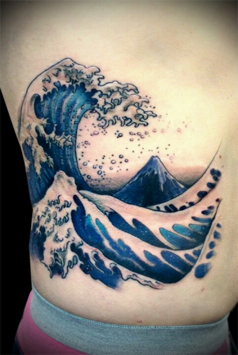 Amazing Wave Tattoo On Side Rib