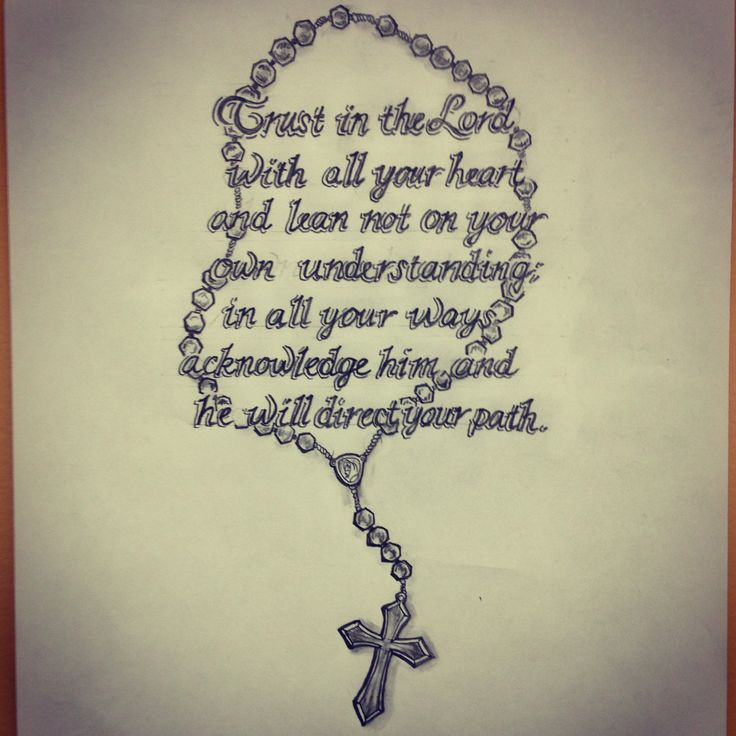 Bible Quote With Rosary Cross Tattoo Design By Ranz