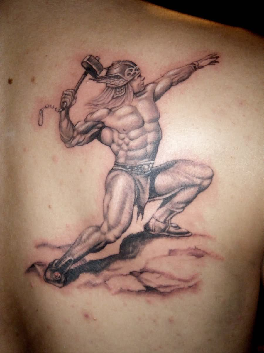 065fbcc4c0ff2 Black And Grey Thor Tattoo On Man Right Back Shoulder By Ray Menthol
