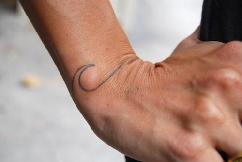 Black Outline Wave Tattoo On Upper Wrist