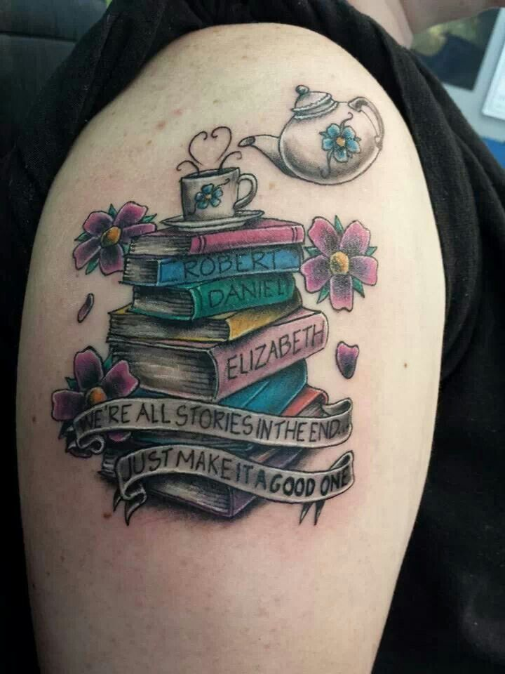 Colorful Books With Banner And Flowers Tattoo On Right Shoulder Tattoos Of Books