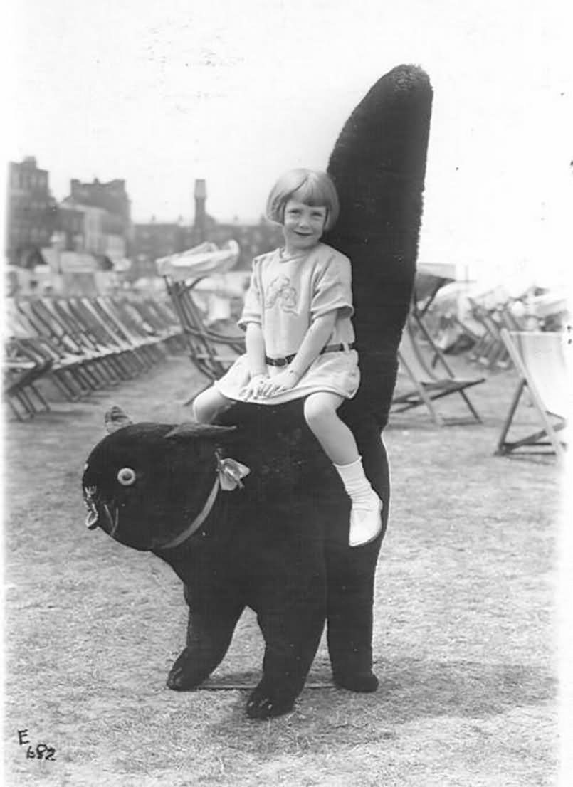 Girl Sitting On Cat With Big Tail Funny Vintage Picture