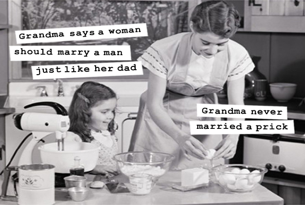 Grandma Says A Woman Should Marry A Man Funny Vintage Meme