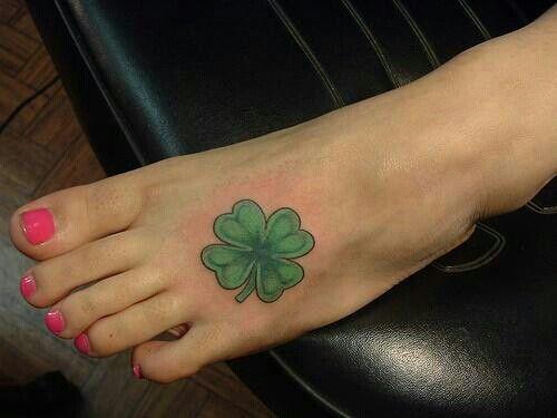 Shamrock four leaf tattoo behind ear for Shamrock foot tattoo