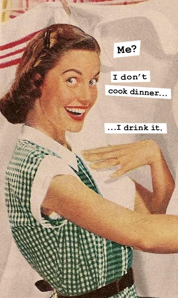 I Don't Cook Dinner I Drink It Funny Vintage Caption