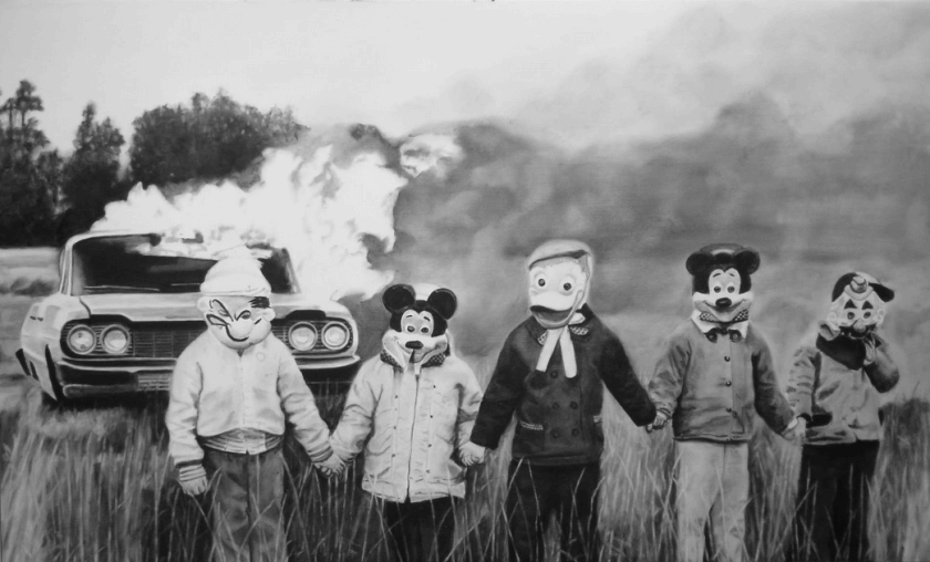 People With Cartoon Mask Funny Vintage Image