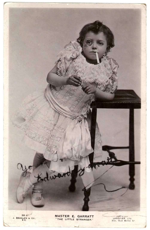 Smoking Girl Kid Funny Vintage Image