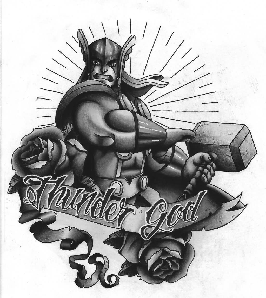 8ea2cb63ba11d Black And Grey Thor Tattoo On Man Left Half Sleeve By Charlie