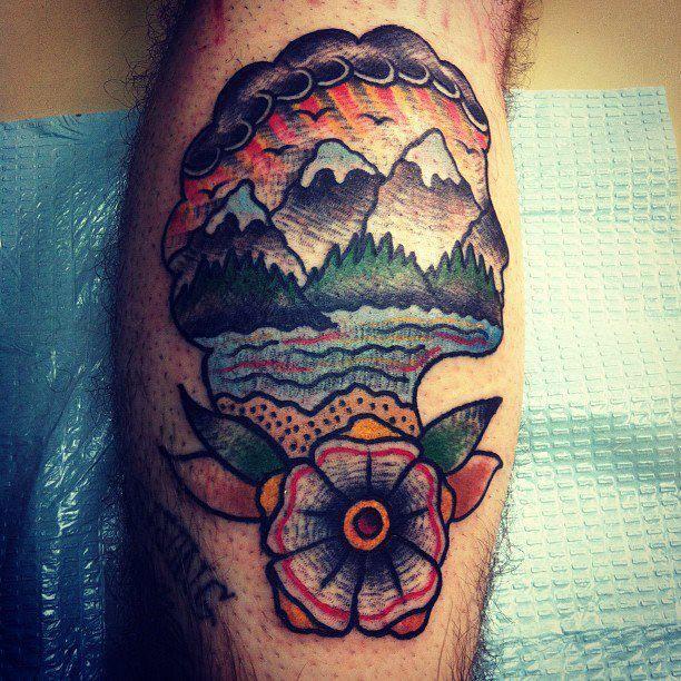 Cote Tattoo traditional nature scene tattoo design for legdavid cote