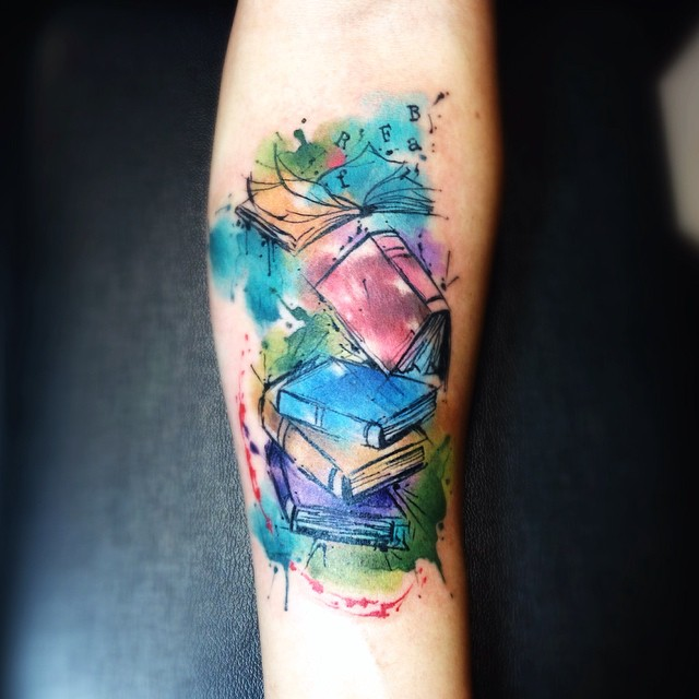 Watercolor Books Tattoo Design For Arm By Leito