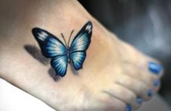 3D Black and Blue Butterfly Tattoo on Foot