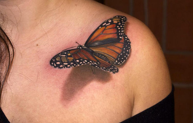 3D Black and Orange Butterfly Tattoo on Shoulder