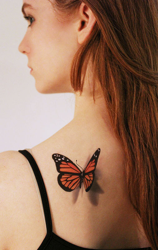 3D Black and Orange Butterfly Temporary Tattoo