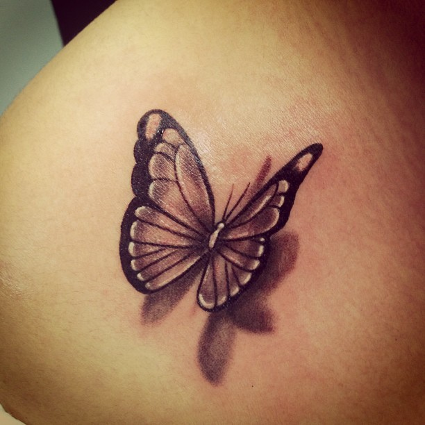 3D Black and grey flying butterfly tattoo