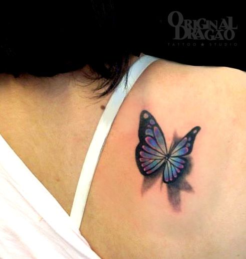 3D Colorful Butterfly Tattoo on Back Shoulder by Fred Stefani at Original Dragao Tattoo Studio