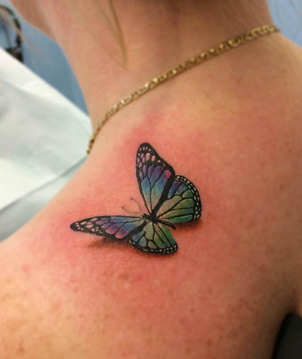 3D Colorful Butterfly Tattoo on Girl Back Shoulder