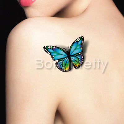 3D Colorful Realistic Butterfly Tattoo on Left Back