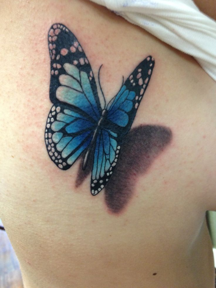 3D Flying Blue Butterfly Tattoo on Siderib