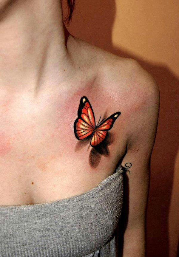 3D Orange Butterfly Tattoo on Girl's Chest