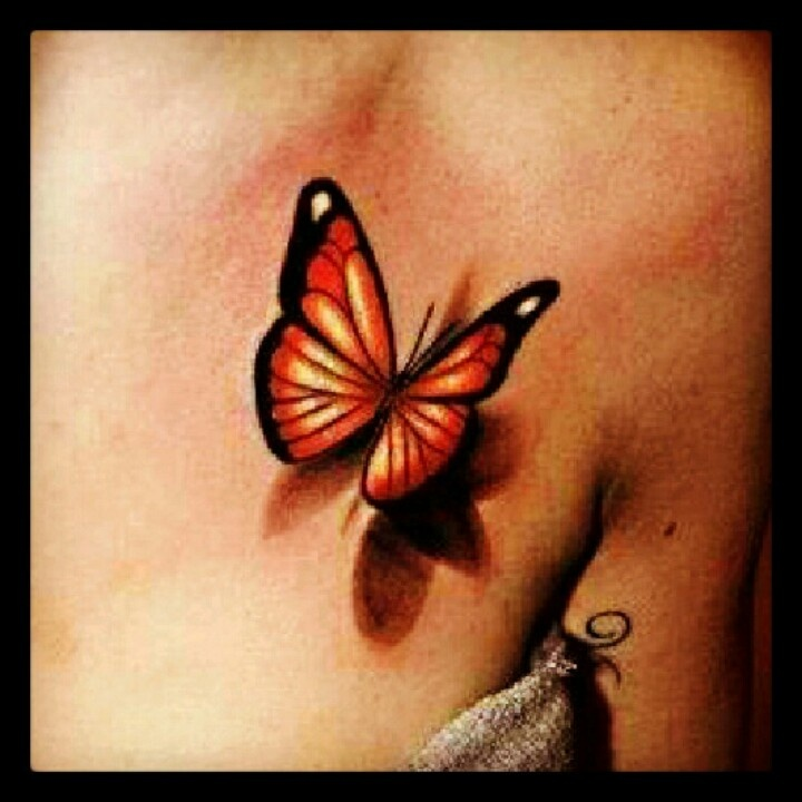 3D Orange butterfly tattoo on chest