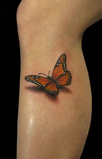 3D Orange butterfly with shadow tattoo on leg