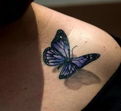 3D Purple Butterfly Tattoo on Shoulder