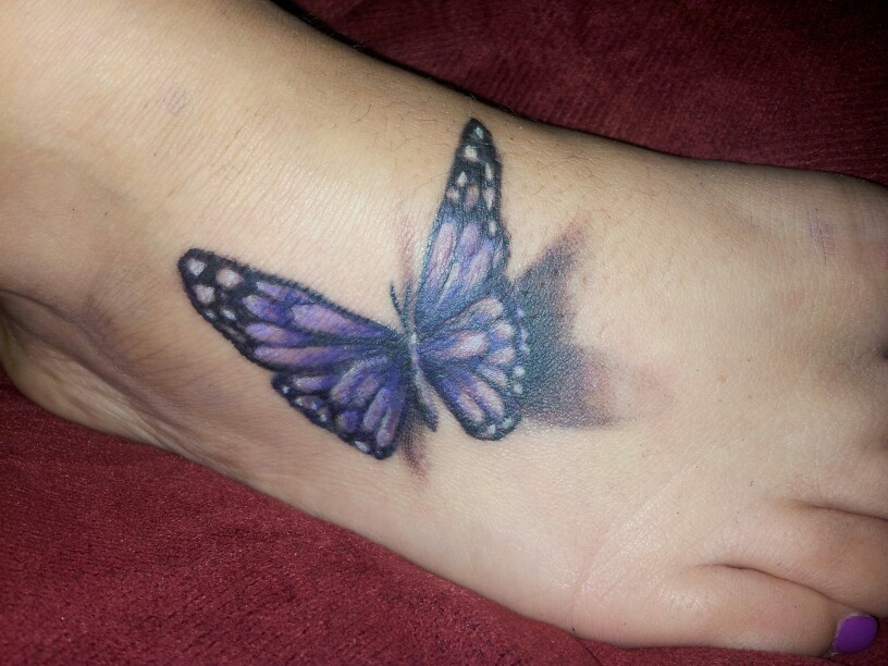 3D Purple Butterfly Tattoo on foot