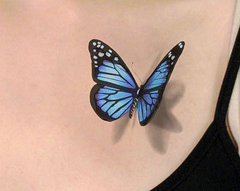 3D Realistic Black and Blue butterfly tattoo on chest