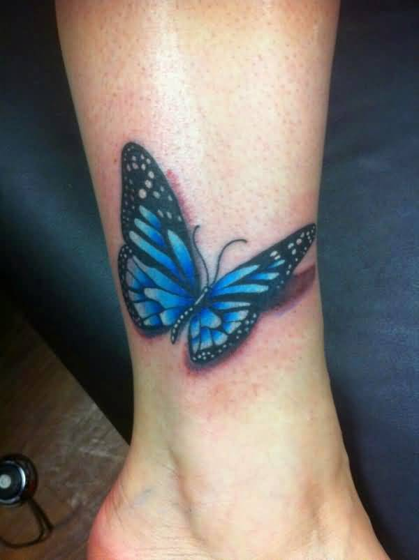 3D Realistic Blue butterfly tattoo on ankle