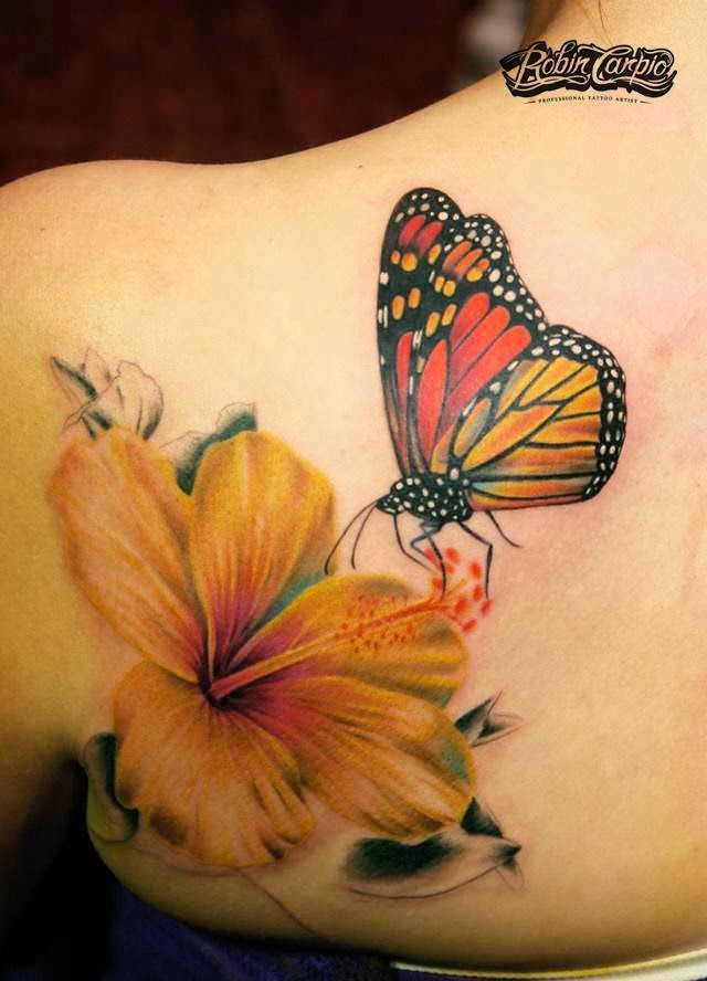 3D butterfly with flower tattoo on back shoulder by Robin Carpio