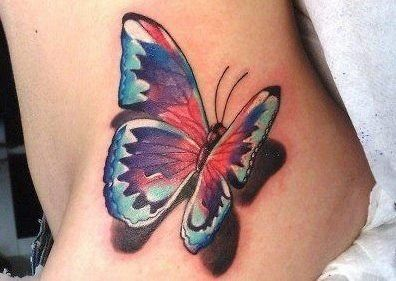 3D colorful butterfly tattoo on  hip