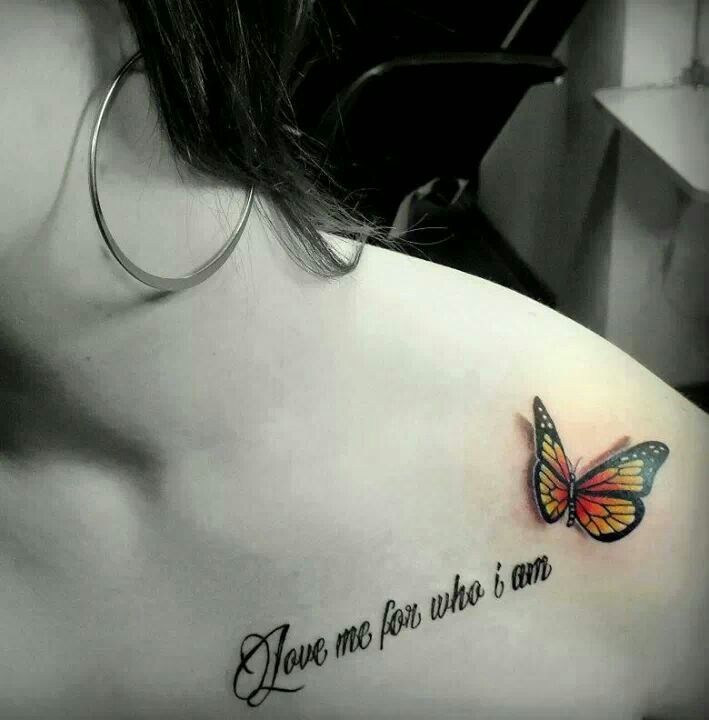 Amazing 3D Colorful Butterfly tattoo with text Love me for who i am