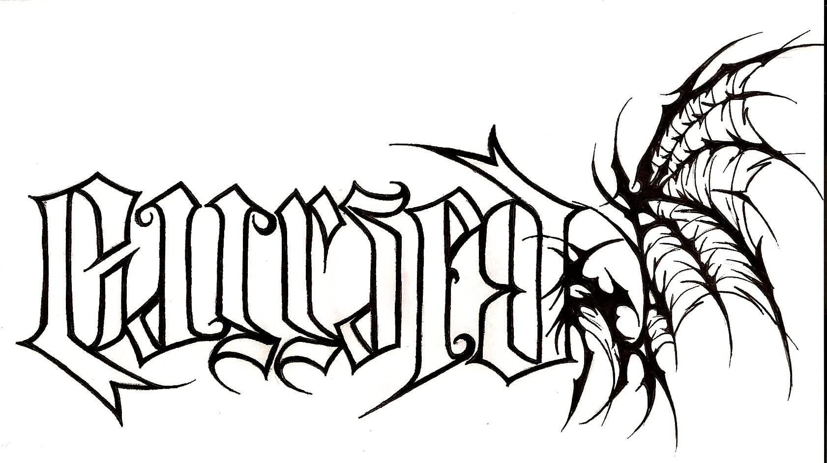Amazing Ambigram Cursed With Wing Tattoo Stencil By Rich