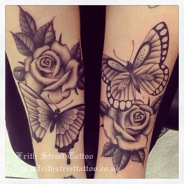cf27a1a50 37+ Inspiring Butterfly And Rose Tattoos
