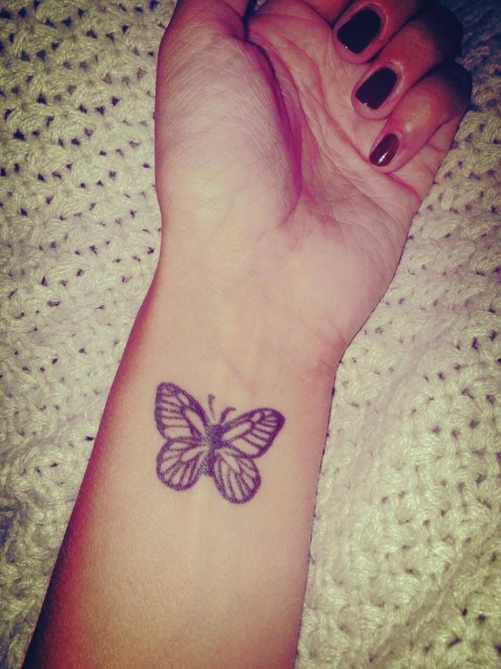 23a3d4e40 Amazing Butterfly Tattoo On Left Wrist