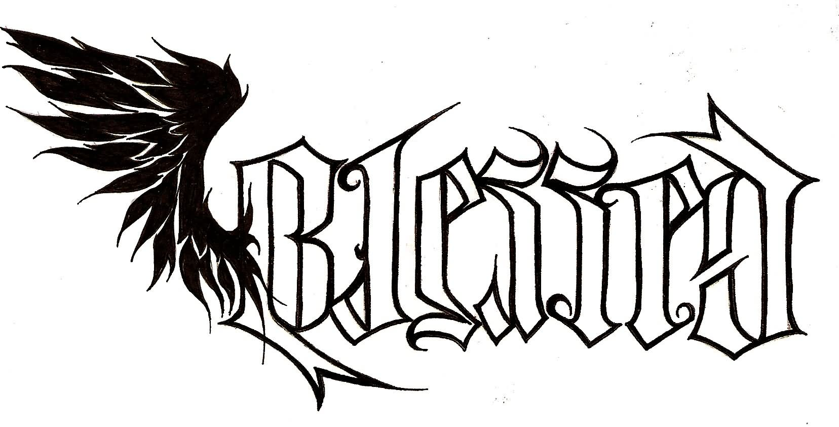 Ambigram blessed lettering with wing tattoo stemncil by for Tattoo artist stencils