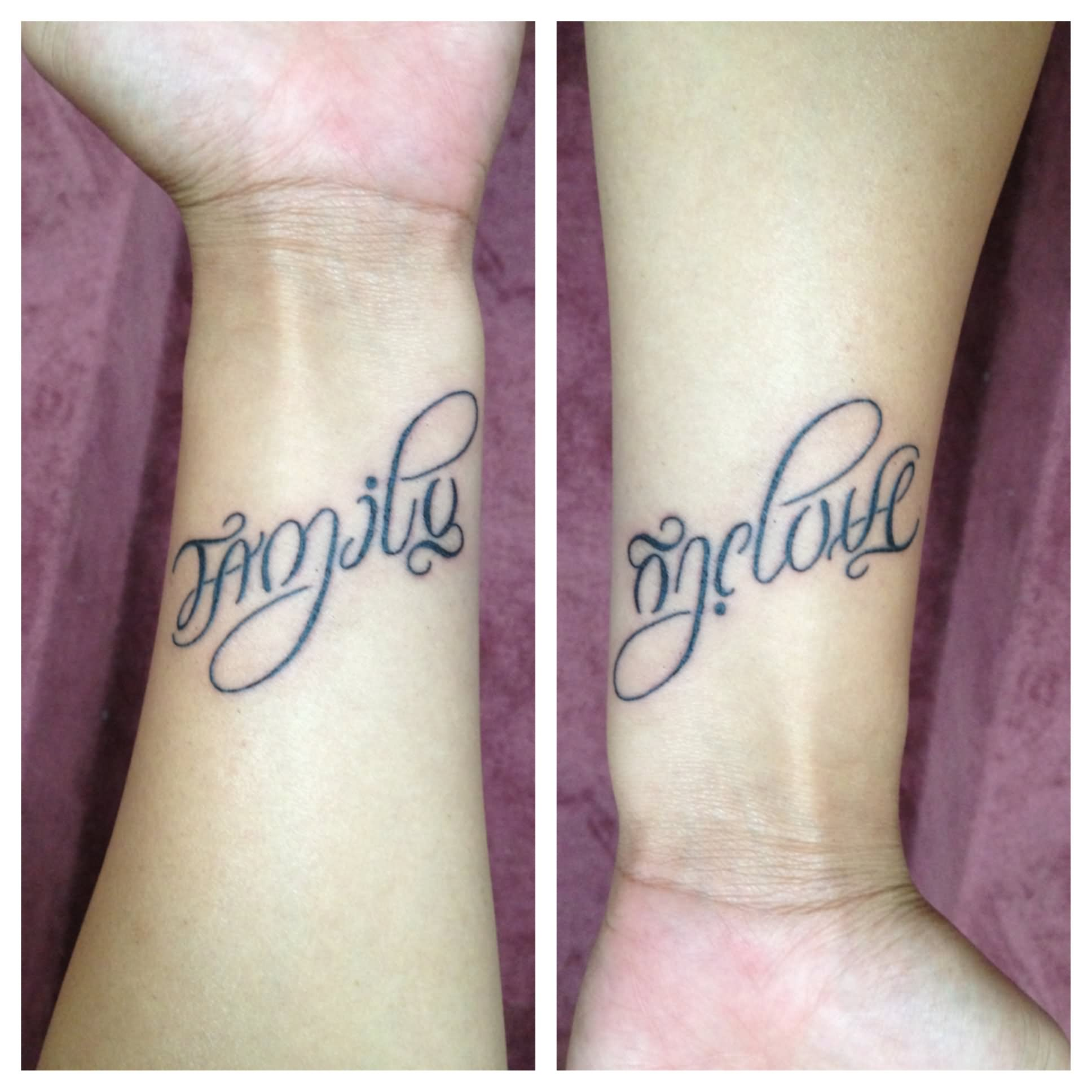 36 meaningful ambigram tattoos for Wrist family tattoos