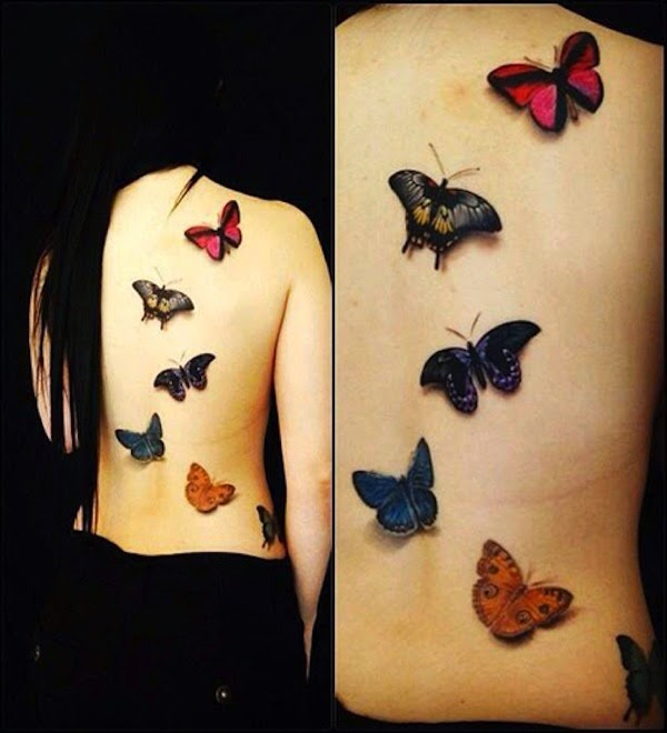 Awesome 3D colorful butterflies tattoo on full back