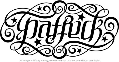 Awesome Ambigram Patrick Lettering Tattoo Design