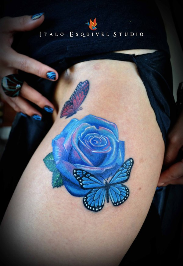 171ac8a46e03c Awesome Blue Rose And Butterfly Tattoo On Side Leg