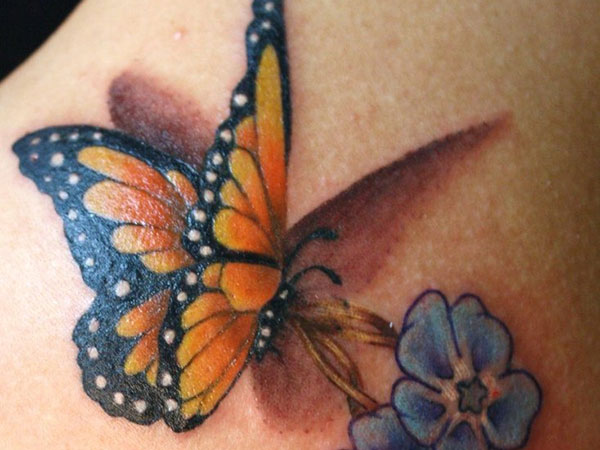 Awesome Realistic 3D orange butterfly and flowers tattoo