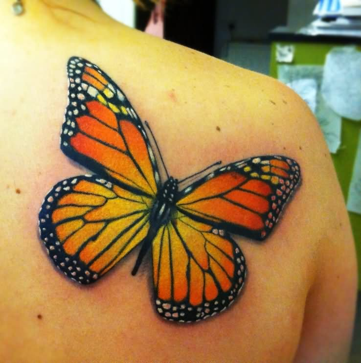 2a1319802 Beautiful Right Back Shoulder Monarch Butterfly Tattoo
