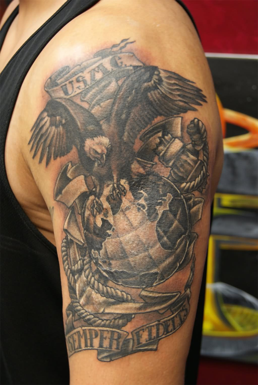 30 marine tattoos images and ideas for Usmc sleeve tattoo ideas